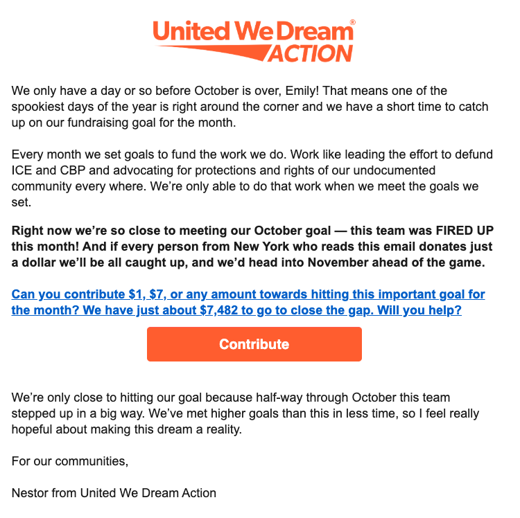 Example of an email using a monthly goal to motivate small-dollar donors to give!