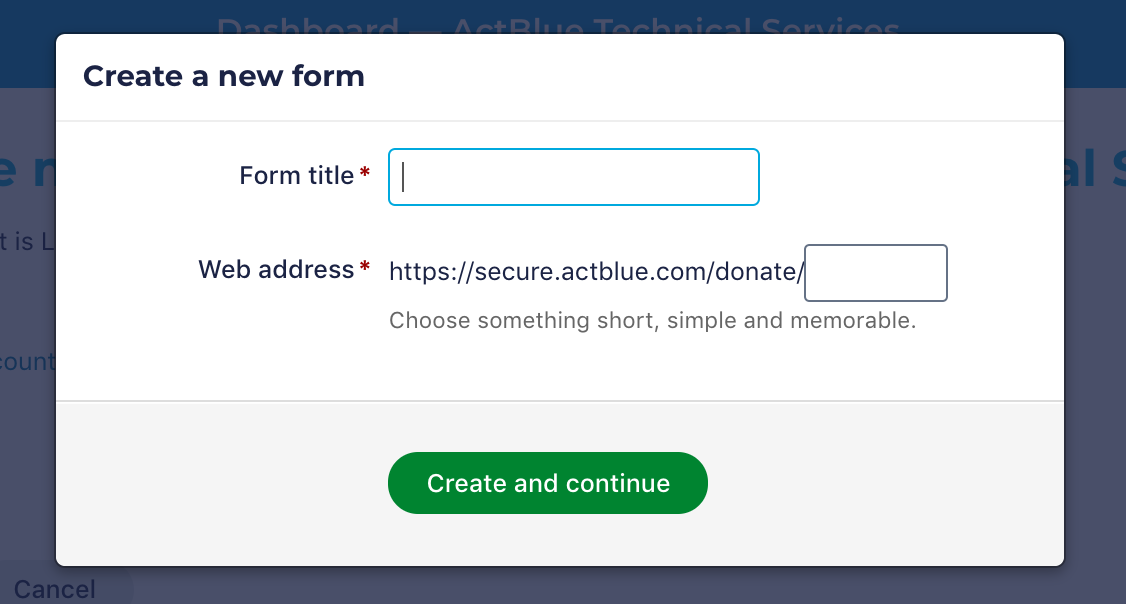 form title and url
