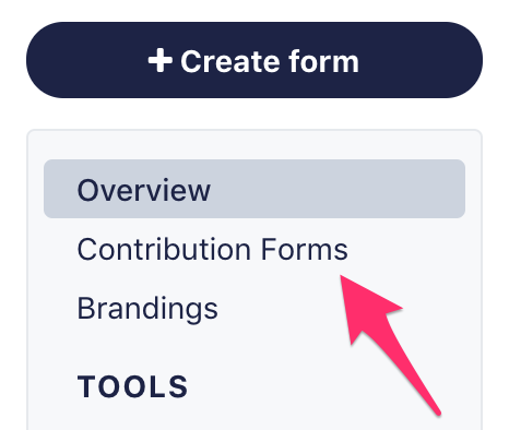 Contribution Forms tab