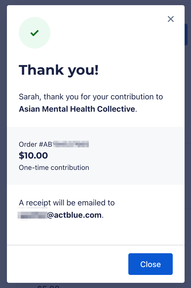 Screenshot of pop-up with post-donation thank you message