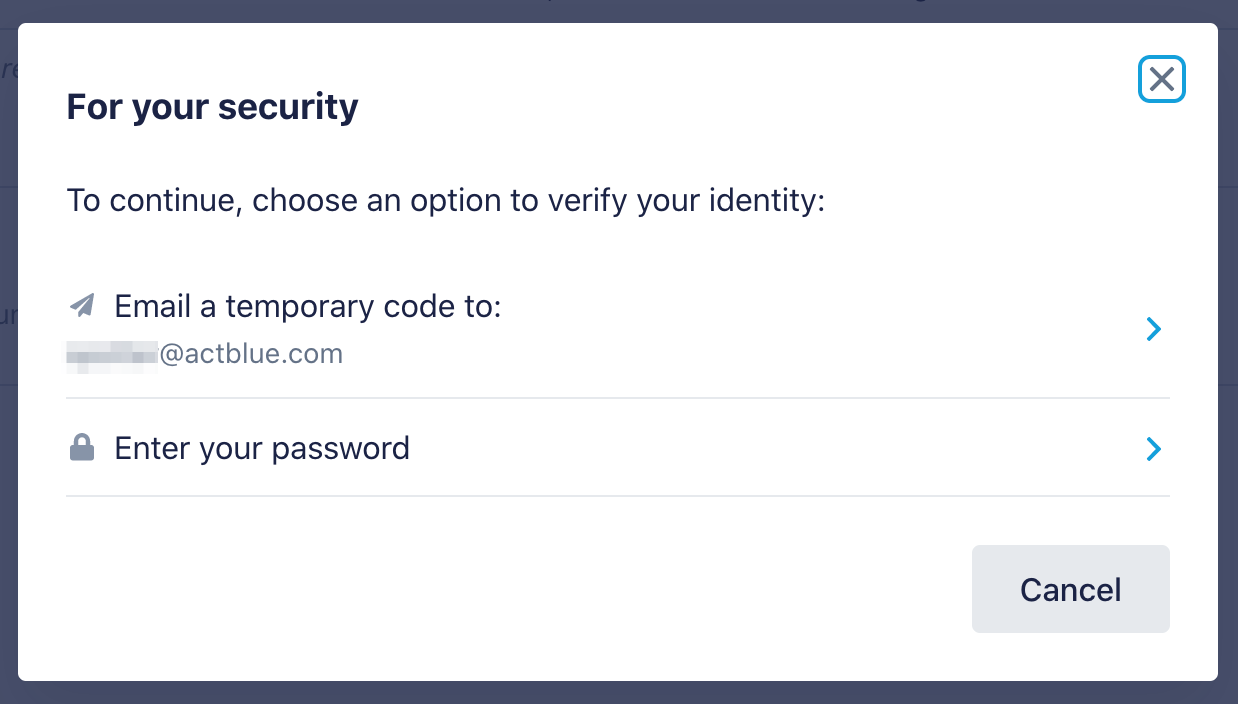 Screenshot of pop-up with options to either email a temporary code or enter your password