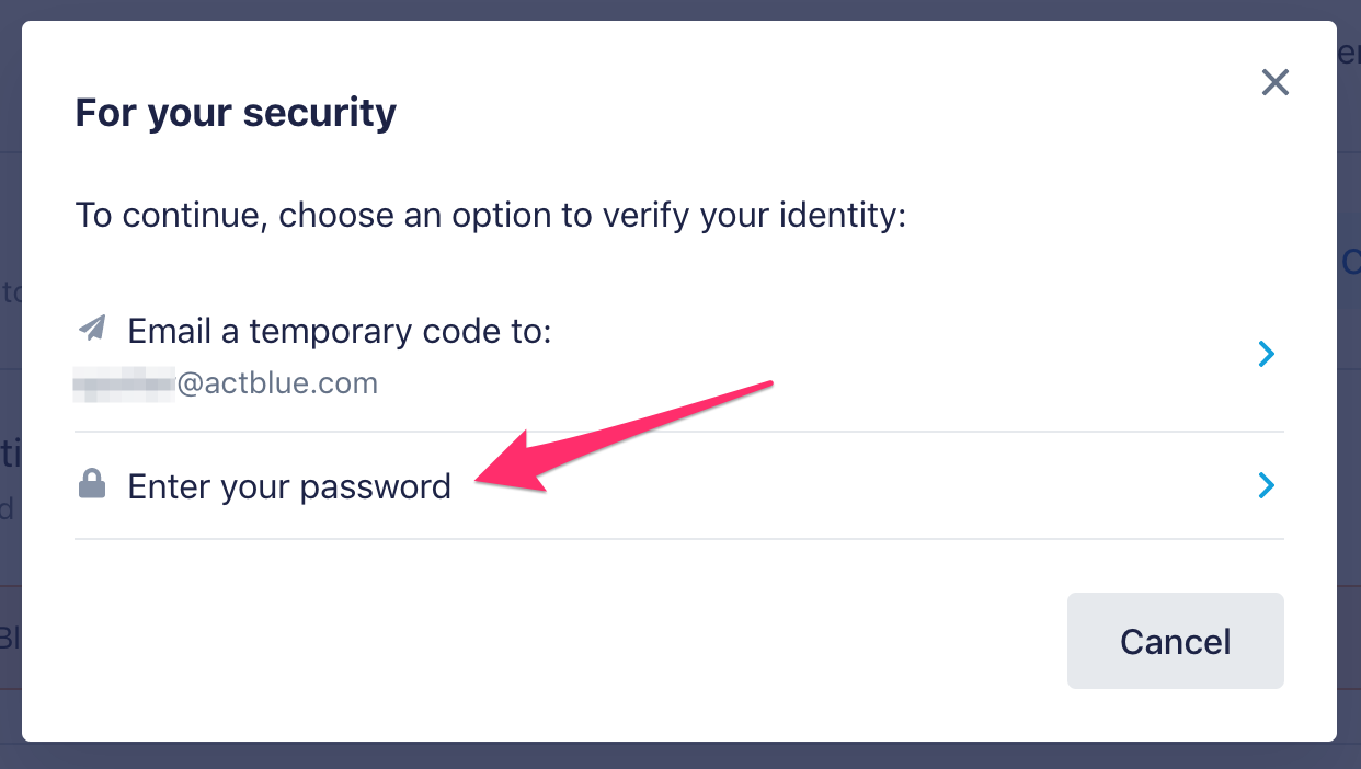 Arrow pointing to enter your password link on bottom of pop-up