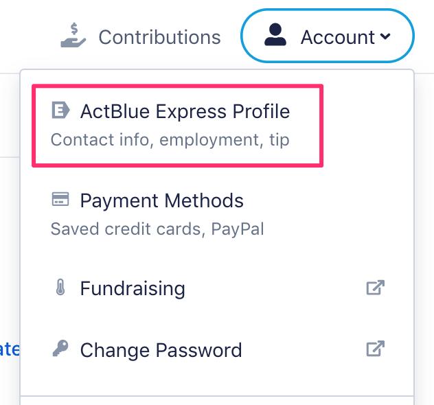 Account menu
