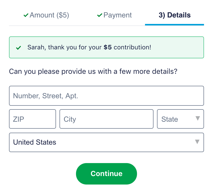 Screenshot of address field during donation experience.