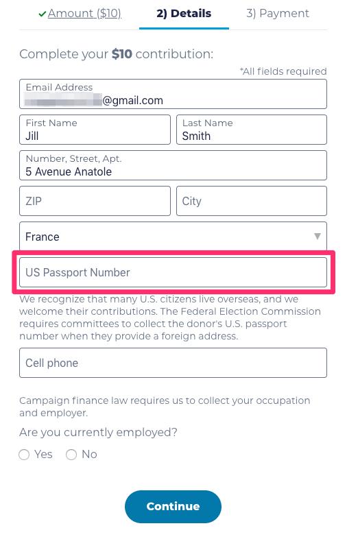 Pink box around passport number field